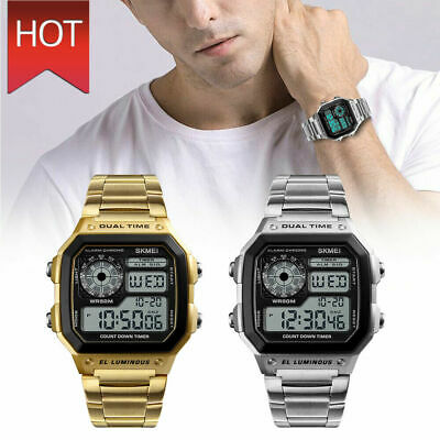 SKMEI Men Luxury Waterproof Alarm Stainless Steel Digital Square Wrist Watch USA