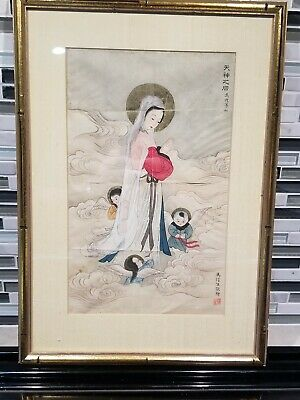 Vintage or antique Japanese Woodblock Print of painting asian chinese