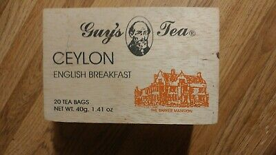 Vintage Guy's Tea Wooden Ceylon Tea Box English Breakfast w/Sliding Wood Lid