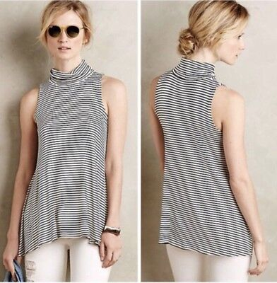 a548d4d06db Puella Anthropologie Small Striped Turtleneck Swing Tank Black White Top NEW