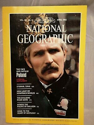Vintage National Geographic Magazine April 1982 VOL. 161 #4 Back Issue w/ Map