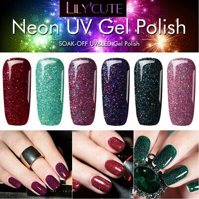 LILYCUTE 7ml Gel Polish Holographic Glitter Shimmer Colorful Soak Off Nail Gel