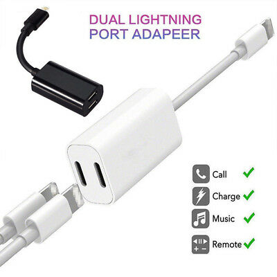 Adapter For iPhone XS/R X 6 7 8 + Splitter Audio Earphone AUX Charger Dual NT