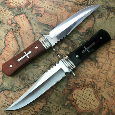 "X2 8"" Hunting Knife Full Tang Stainless Steel Blade with Wood Handle Cross"