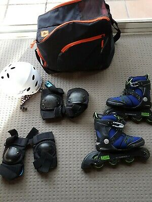 Junior Roller Blafes In-Line Skates Size Adjustable with bag,pads and helmet