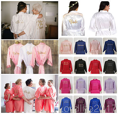 Satin Silk Personalized Wedding Robe Bridesmaid Bride Mother Dressing Gown 6-18