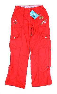 George Girls Red Floral Cargo Trousers Age 9-10