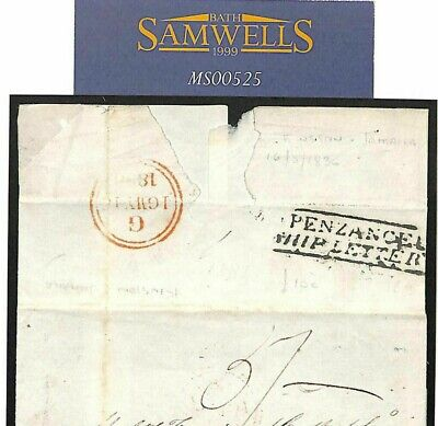 JAMAICA Cover 1836 TRANSATLANTIC Per *Penzance Ship Letter* GB Cornwall MS525