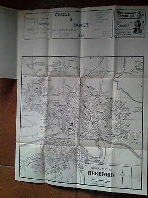 """c.1950 Vintage Street Map of Hereford 14""""x14"""" Frameable Double sided with index"""