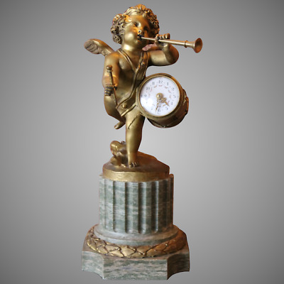 Antique Bronze With Marble French Table/Mantle Clock With Putti - Free Shipping
