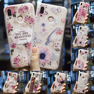 Case For Huawei P30 Pro P20 P9 P8 Lite 3D Relief Flower Patterned Silicone Cover