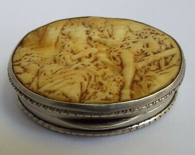 BEAUTIFUL ANTIQUE c.1880 SOLID SILVER & CARVED BONE SNUFF BOX POSSIBLY CHINESE