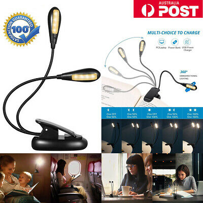 Portable Travel Flexible Neck LED Clamp Clip-On Dual-Head Reading Book Light AU