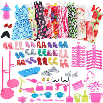 85pc Barbie Doll Clothes Party Gown Outfits Shoes Glasses Necklaces for Girls GQ