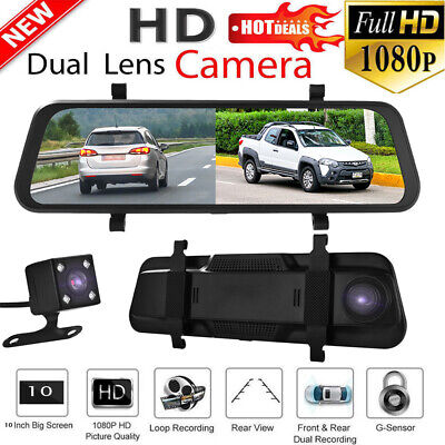 """Car Rearview Mirror Driving Recorder 10"""" Full Touch Screen 1296P Camera MA1983"""