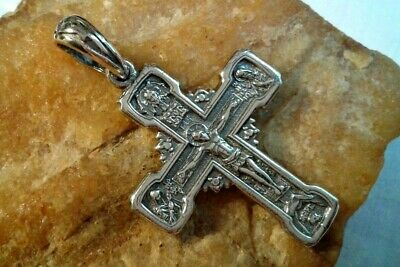 "STERLING SILVER ""925"" ORTHODOX CRUCIFIX CROSS with MOTHER OF GOD ""POKROV"" ICON"