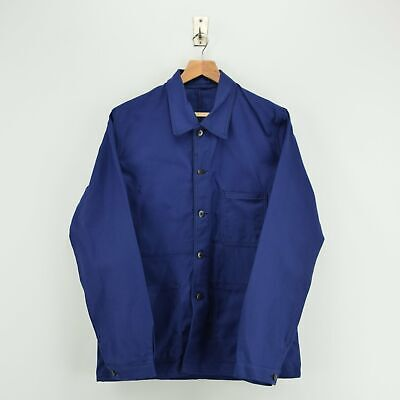 Vintage Deadstock Indigo Blue French Worker Sanforized Cotton Chore Jacket M