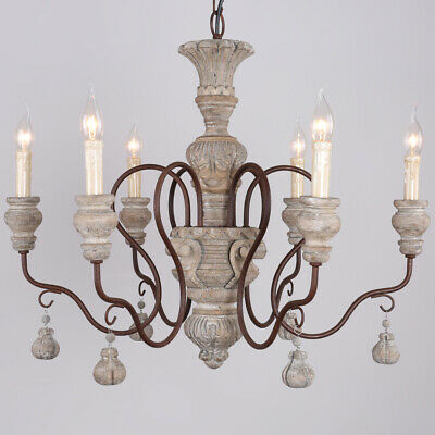 Vintage 6 Arms Candle Style Antique Chandelier Living Room Wooden Pendant Lights