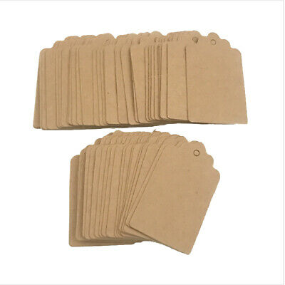 100pcs DIY Kraft Paper Tag Wedding Favour Party Gift Card Label Blank Price Tags