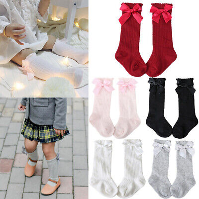 Spanish Girls Baby Cotton Knee High Socks Bow Romany School Stockings Fit 0-4 Y