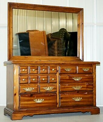 Rrp £6000 Thomasville Bank Chest Of Drawers With Large Mirror Dressing Table