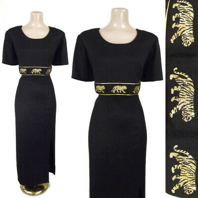 VINTAGE 80s 90s Gold Embroidered Tigers Dress 1980s Black Rayon Party Dress 16