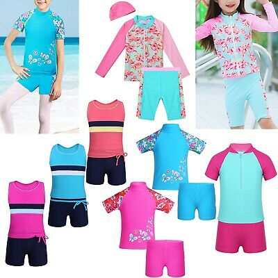 Girl Kids Swimsuit Swimwear Rash Guard Suit Sun Protection Beach Surfing Costume