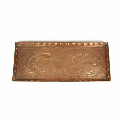 Arts & Crafts Newlyn? Dragon Embossed Copper Tray C.1900