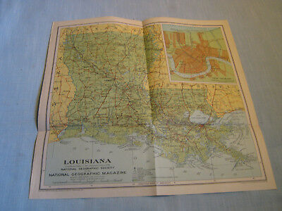ANTIQUE LOUISIANA MAP National Geographic April 1930