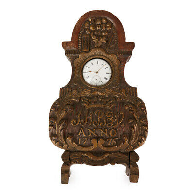 Antique Carved Inscribed Watch Holder Dated 1776