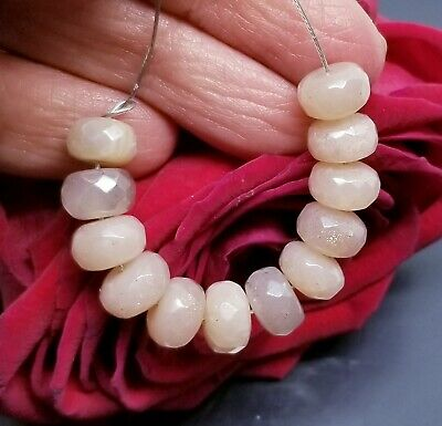 12 PEACH AUSTRALIAN MOONSTONE FACETED RONDELLE BEADS 32cts 8mm  AAA SUPERB FLASH