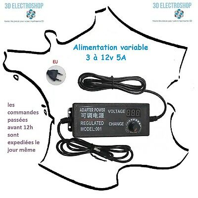 Alimentation variable 3 à 12 volts 5 Ampères 60 Watts power supply