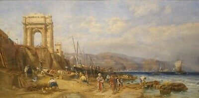 Large 19th Century Italian Coastal Landscape Ancona & The Arch of Trajan