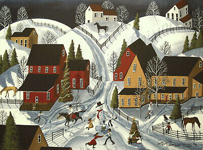 Winter landscape snow snowman farm folk art Criswell ACEO print of painting gift
