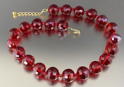 Vintage 70'S Chunky Red Aurora Borealis Crystal Glass Bead Necklace