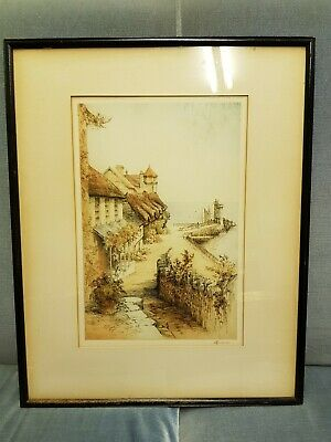 Original Coloured Etching Of Lynmouth Signed In Pencil By R.h.smallridge