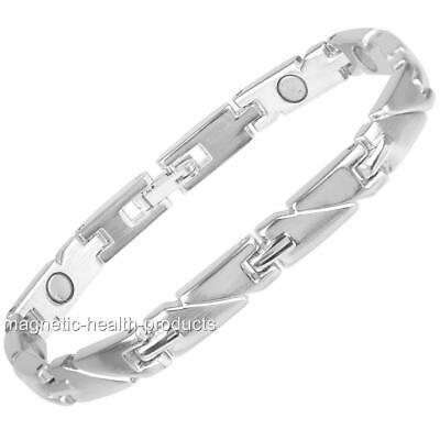 Ladies Elegant Magnetic Healing Bracelet Silver Bangle Arthritis Pain Relief 241