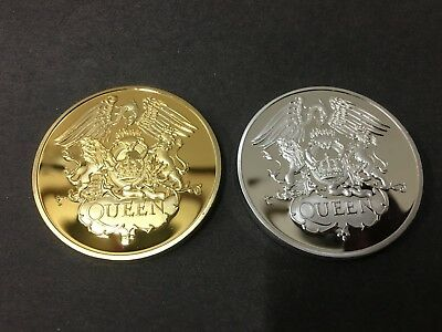 Freddie Mercury Queen Band ROCK MUSIC GOLD AND SILVER 2 Coin Collection