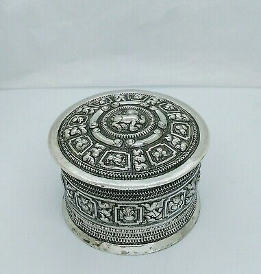 Antique Burmese Silver Betel Box, Repousse, Shan States, Late 19Th C