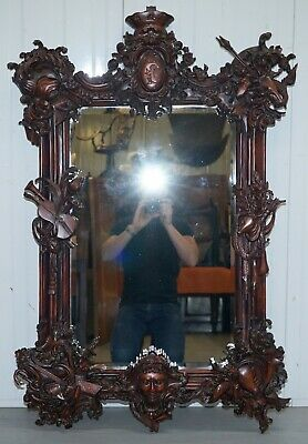 Hand Carved Ornate Mahogany Mirror With Armorial Crest Horns Animals Flowers Cow
