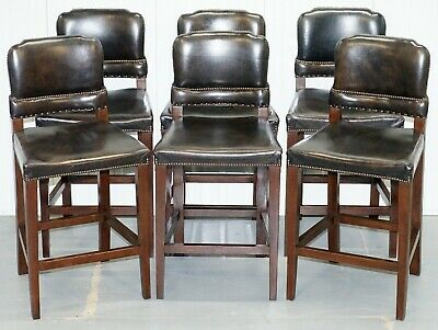 Set Of 6 Halo Springfield Rrp £3570 Brown Leather Oak Counter Bar Kitchen Stools