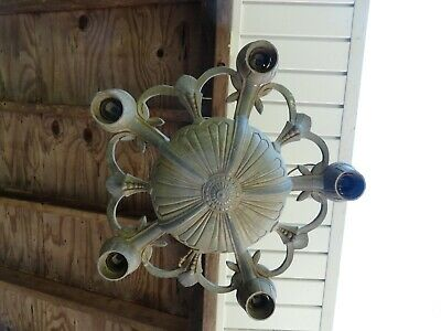 Vintage Antique Art Deco Cast Metal 5 Light Ceiling Fixture