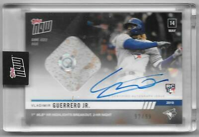 2019 Topps Now Card 229A Vladimir Guerrero Jr. Rc On-Card Autograph Relic #/99