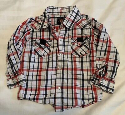 Button Down Shirt Boys 12-24 Months Sovereign Codes Red Black White Pearl Snaps