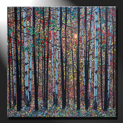 Original Oil Painting Canvas Sunny Forest Birches Trees Contemporary GeeBeeArt