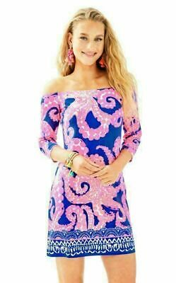 5e1bcd71fd64af NWT LILLY PULITZER NEW $168 Laurana Dress Mocean Engineered Ikat Blue S