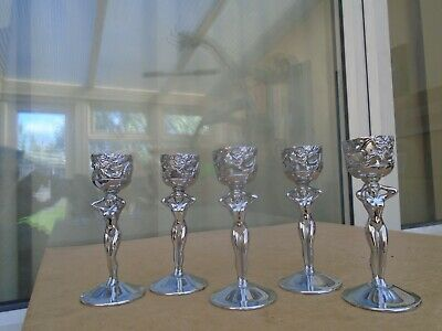 Set of 5 art deco style small chrome candlesticks  NUDE FEMALE WITH DRAGON BOWL