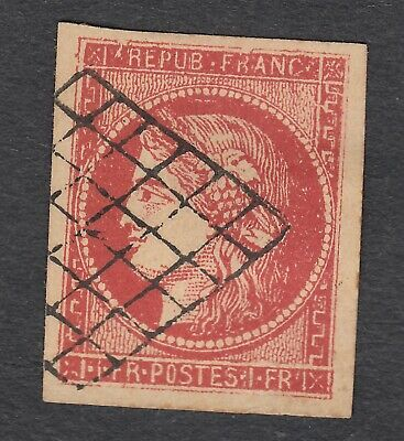 N°7 1Fr Vermillon Faux Fake Timbre Stamp Briefmarken