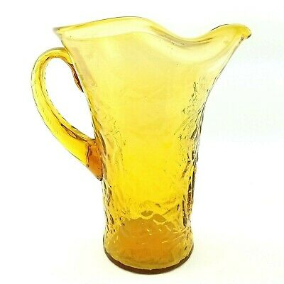 "Huge Vtg Amber Glass Pitcher Ice Water Tea 11 3/4"" Tall MCM Mid Century Retro"