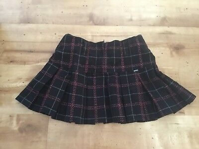 Pumpkin Patch Black & Red Checked Pleated Skirt With Silver Thread Age 9 Yrs